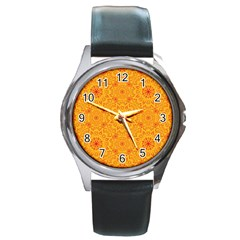 Solar Mandala  Orange Rangoli  Round Metal Watch by bunart