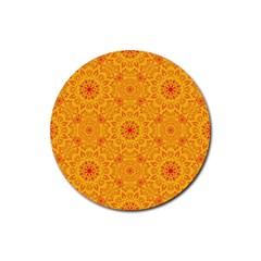 Solar Mandala  Orange Rangoli  Rubber Round Coaster (4 Pack) by bunart