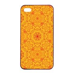 Solar Mandala  Orange Rangoli  Apple Iphone 4/4s Seamless Case (black) by bunart