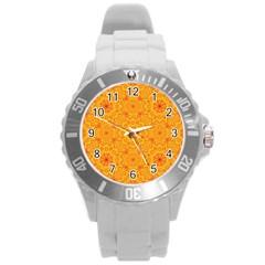 Solar Mandala  Orange Rangoli  Round Plastic Sport Watch (l) by bunart