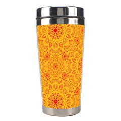 Solar Mandala  Orange Rangoli  Stainless Steel Travel Tumbler by bunart