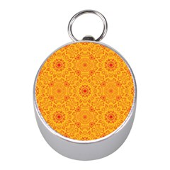 Solar Mandala  Orange Rangoli  Silver Compass (mini) by bunart