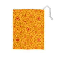 Solar Mandala  Orange Rangoli  Drawstring Pouch (large) by bunart