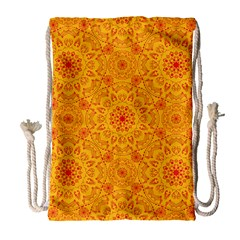 Solar Mandala  Orange Rangoli  Drawstring Bag (large) by bunart