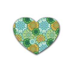 Forest Spirits  Green Mandalas  Rubber Coaster (heart) by bunart