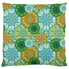 Forest Spirits  Green Mandalas  Large Cushion Case (two Sides) by bunart