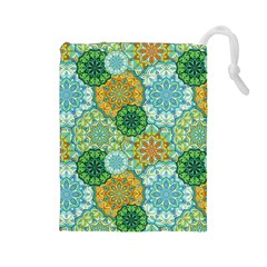 Forest Spirits  Green Mandalas  Drawstring Pouch (large) by bunart