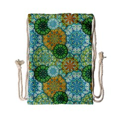 Forest Spirits  Green Mandalas  Drawstring Bag (small) by bunart