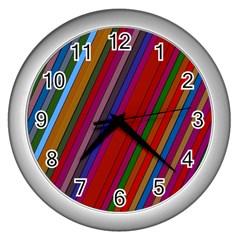Color Stripes Pattern Wall Clocks (silver)  by Simbadda