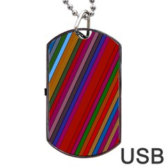 Color Stripes Pattern Dog Tag Usb Flash (one Side) by Simbadda