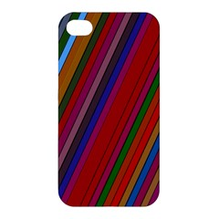 Color Stripes Pattern Apple Iphone 4/4s Premium Hardshell Case by Simbadda