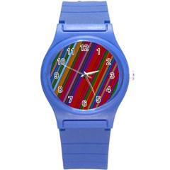 Color Stripes Pattern Round Plastic Sport Watch (s) by Simbadda