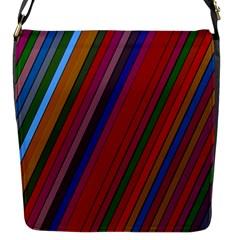 Color Stripes Pattern Flap Messenger Bag (s) by Simbadda
