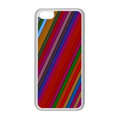 Color Stripes Pattern Apple Iphone 5c Seamless Case (white) by Simbadda