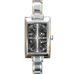 Black And White Bubbles On Black Rectangle Italian Charm Watch by Simbadda