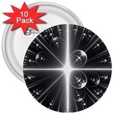 Black And White Bubbles On Black 3  Buttons (10 Pack)  by Simbadda