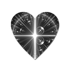 Black And White Bubbles On Black Heart Magnet by Simbadda