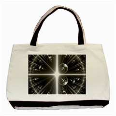 Black And White Bubbles On Black Basic Tote Bag (two Sides) by Simbadda