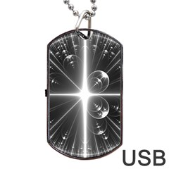 Black And White Bubbles On Black Dog Tag USB Flash (Two Sides) by Simbadda