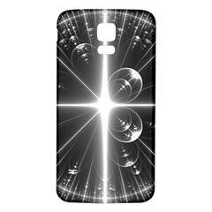 Black And White Bubbles On Black Samsung Galaxy S5 Back Case (white) by Simbadda