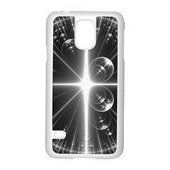 Black And White Bubbles On Black Samsung Galaxy S5 Case (white) by Simbadda