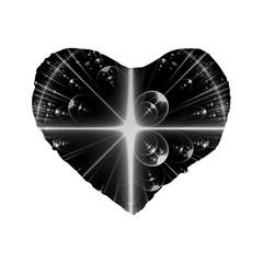 Black And White Bubbles On Black Standard 16  Premium Flano Heart Shape Cushions by Simbadda