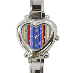 Colorful Stripes Background Heart Italian Charm Watch by Simbadda