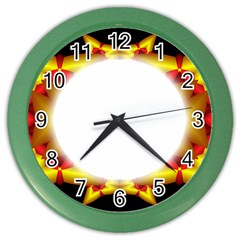 Circle Fractal Frame Color Wall Clocks by Simbadda