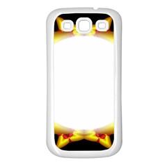 Circle Fractal Frame Samsung Galaxy S3 Back Case (white) by Simbadda
