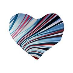 Wavy Stripes Background Standard 16  Premium Flano Heart Shape Cushions by Simbadda