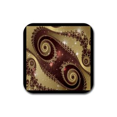 Space Fractal Abstraction Digital Computer Graphic Rubber Coaster (square)  by Simbadda