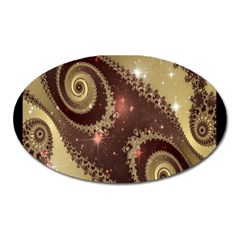Space Fractal Abstraction Digital Computer Graphic Oval Magnet by Simbadda