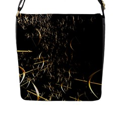 Golden Bows And Arrows On Black Flap Messenger Bag (l)  by Simbadda