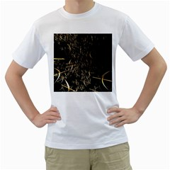 Golden Bows And Arrows On Black Men s T Shirt (white)  by Simbadda