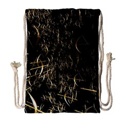 Golden Bows And Arrows On Black Drawstring Bag (large) by Simbadda