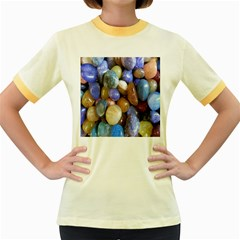 Rock Tumbler Used To Polish A Collection Of Small Colorful Pebbles Women s Fitted Ringer T Shirts