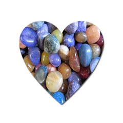 Rock Tumbler Used To Polish A Collection Of Small Colorful Pebbles Heart Magnet by Simbadda