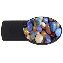Rock Tumbler Used To Polish A Collection Of Small Colorful Pebbles Usb Flash Drive Oval (2 Gb) by Simbadda