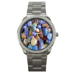 Rock Tumbler Used To Polish A Collection Of Small Colorful Pebbles Sport Metal Watch by Simbadda