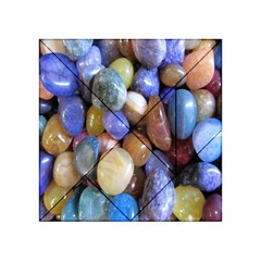 Rock Tumbler Used To Polish A Collection Of Small Colorful Pebbles Acrylic Tangram Puzzle (4  X 4 ) by Simbadda