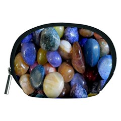 Rock Tumbler Used To Polish A Collection Of Small Colorful Pebbles Accessory Pouches (medium)  by Simbadda