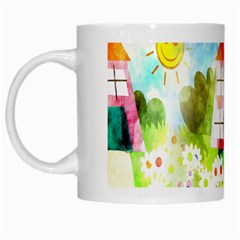 Summer House And Garden A Completely Seamless Tile Able Background White Mugs by Simbadda