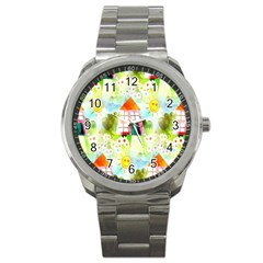 Summer House And Garden A Completely Seamless Tile Able Background Sport Metal Watch by Simbadda