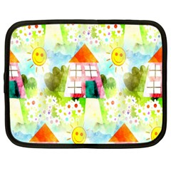 Summer House And Garden A Completely Seamless Tile Able Background Netbook Case (xxl)  by Simbadda
