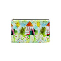 Summer House And Garden A Completely Seamless Tile Able Background Cosmetic Bag (small)  by Simbadda