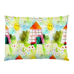 Summer House And Garden A Completely Seamless Tile Able Background Pillow Case (two Sides) by Simbadda