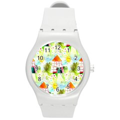 Summer House And Garden A Completely Seamless Tile Able Background Round Plastic Sport Watch (M) by Simbadda