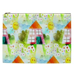 Summer House And Garden A Completely Seamless Tile Able Background Cosmetic Bag (xxl)  by Simbadda