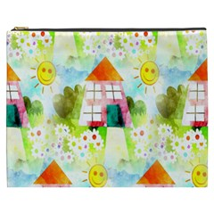 Summer House And Garden A Completely Seamless Tile Able Background Cosmetic Bag (xxxl)  by Simbadda