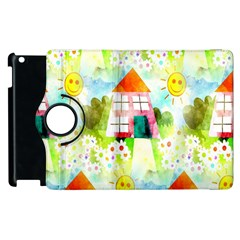 Summer House And Garden A Completely Seamless Tile Able Background Apple Ipad 3/4 Flip 360 Case by Simbadda